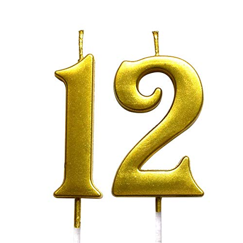 Gold 12th Birthday Numeral Candle, Number 12 Cake Topper Candles Party Decoration for Girl Or Boy