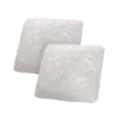 Jean Pierre Faux Fur 2-Piece Decorative Pillow Set, Light Grey