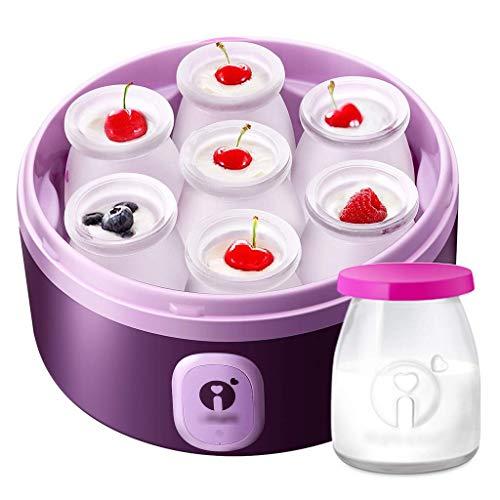 SCJ Vollautomatische Joghurtmaschine, Nudelmaschine, Schüsselspender, Haushaltsjoghurtmaschine mit 7 185 ml Glasspendern (lila)