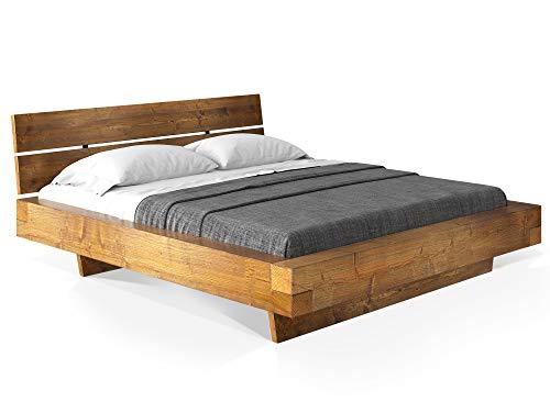 moebel-eins CURBY Balkenbett mit Kopfteil, Wangenfuß, Material Massivholz, 180 x 200 cm, Vintage