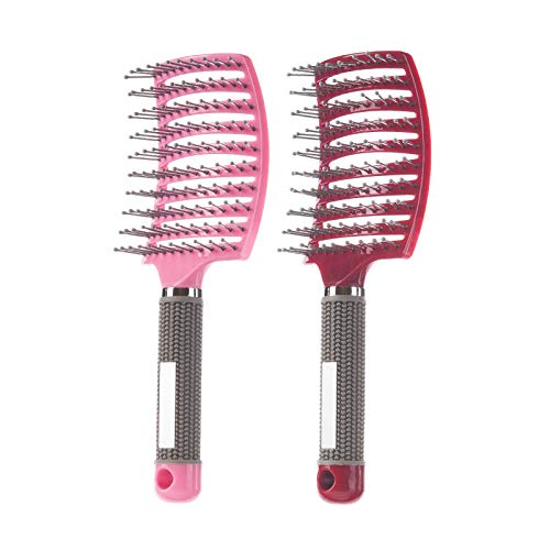 2 Pack Professional Vented Curved Detangling Hair Brush,Fast Drying Styling Massage Hairbrush for Tangled Long Thick Curly Hair (Pink, Red)