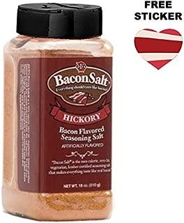 J&D's Big Pig Hickory Bacon Salt (16 Ounce Bottle + Sticker) - Jumbo Low Sodium Bacon Flavored Seasoning Salt + Bacon Heart Sticker