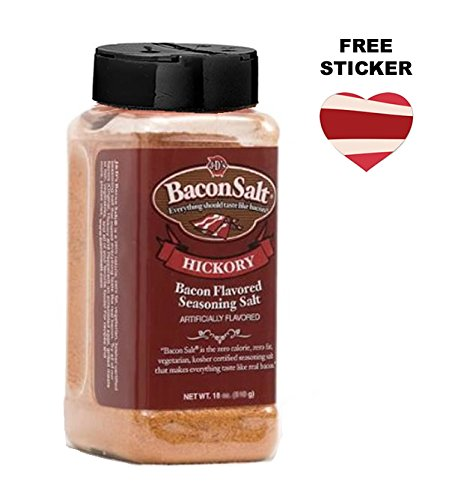J&D's Big Pig Hickory Bacon Salt (16 Ounce Bottle + Sticker) - Jumbo Low Sodium Bacon Flavored Seasoning Salt + Bacon Heart Sticker