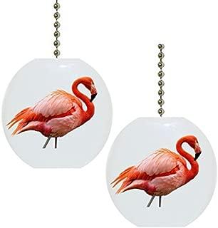 Set of 2 Beautiful Pink Flamingo Solid Ceramic Fan Pulls