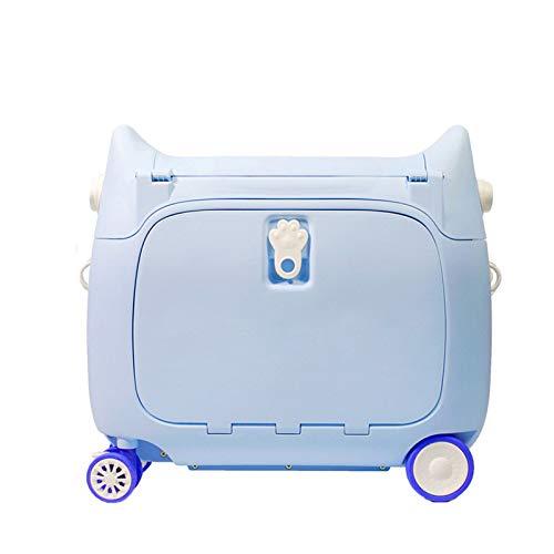ORPERSIST Maleta Correpasillos Equipaje Mano Infantil Portátil Estuche Viaje Multifunción Impermeable con 4 Mudo Ruedas Cargar Los Portes 60Kg,Azul
