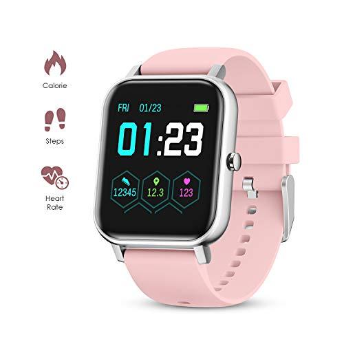 GOKOO Smartwatch Damen Herren Vollfarb-Touchscreen Fitness Pulsuhren Sportuhr IP67 mit Pulsmesser Schrittzähler Blutdruck Messgeräte Schlafmonitor Uhr für IOS Android (Rosa)