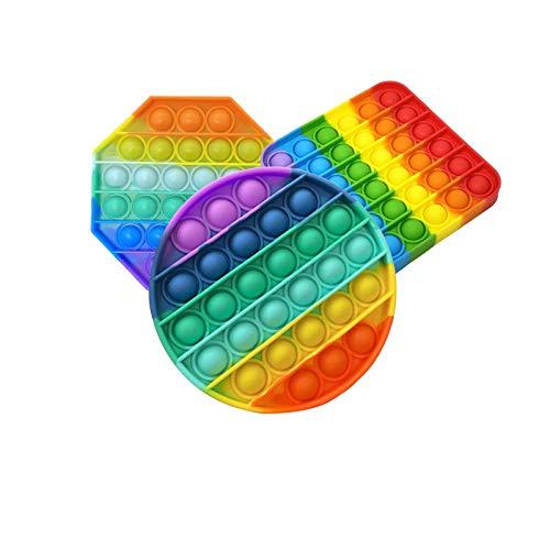 XMYING 3 PCS Silicona Sensorial Fidget Juguete, Juguetes para Autismo con Necesidades Especiales para aliviar el estrés, Juguetes educativos de Silicona para Adultos y niños,B,Colores del Arco Iris