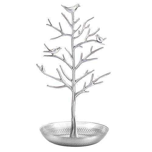 AUTODECO Jewelry Tree Organizer for Necklaces and Earrings Ring Tree Holder Display Jewelry Tower Tree Great Gift for Women Girl Silver