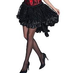 COSWE Women's Solid Color Lace Asymmetrical High Low Corset Skirt Plus Size Black (2XL) #2