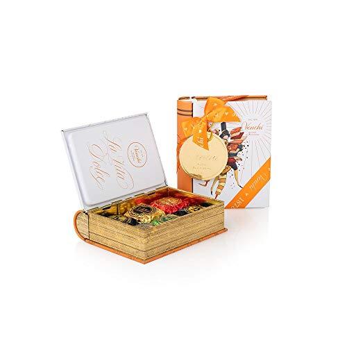 Venchi Scatola Regalo Con Cioccolatini Chocoviar Assortiti 6g, Mini Libro Bianco In Latta - Senza Glutine, Cioccolato