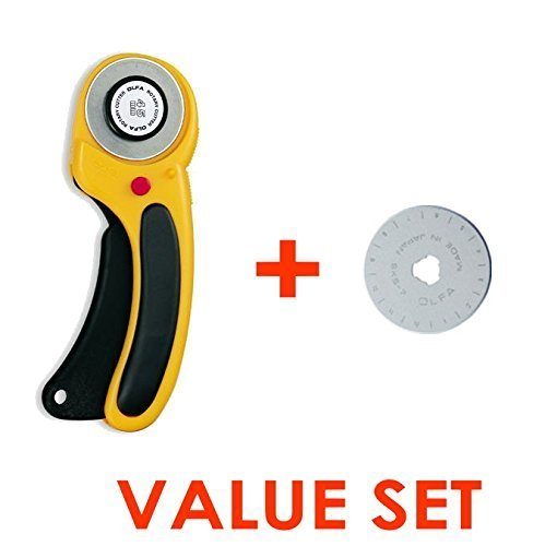The maximum sharpness / Made in Japan /OLFA 45 mm tungsten steel Ergonomic Rotary Cutter & 45mm Rotary Blade Refill, 1-Pack Value Set