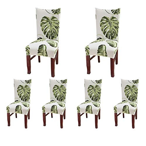 SoulFeel Set of 6 Dining Chair Covers, Stretch Spandex Dining Room Protector Slipcovers (Style 55, Green Leaves)
