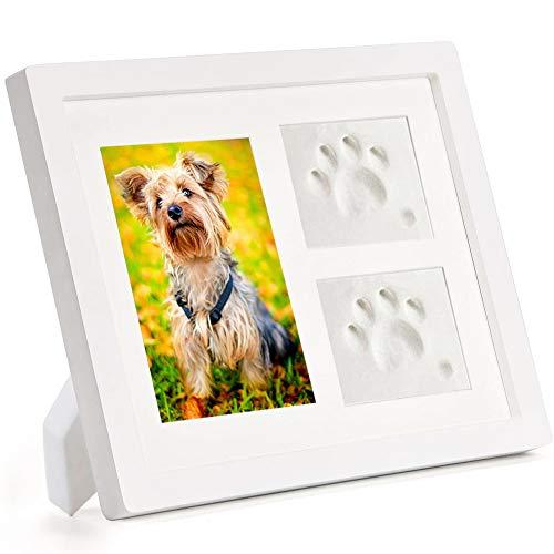 Pfotenabdruck Set für Hund/Katze, Weißer Hölzerner Bilderrahmen und 3D Gipsabdruck, Hundepfote Katzenpfote Abdruck, Beste Gedenkgeschenk