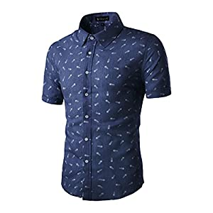 Men's  Casual Slim Fit Short Sleeve Button Down  Shirts