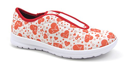 Move Women's Cute Memory Foam Elastic Gore Nursing Shoes - Printed - Florence (7, Electro Heart)