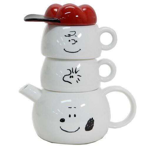 SUNART Snoopy Juego de té por dos, tetera de cerámica y 2 tazas de té, vajilla apilable Snoopy and Friends, importación japonesa, Snoopy blanco cerámica SPY-386
