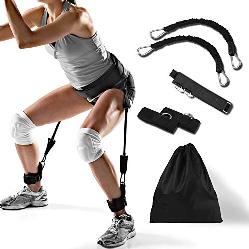 Odowalker Basketbal Vertical Jump Trainer Resistance Bands Set Bounce Trainer 50 Pounds Training Device Leg Strength and Speed Agility Training Strap Taekwondo Kungfu Fitness Exercise Bands