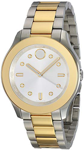 MOVADO WOMEN'S BOLD TWO TONE STEEL BRACELET SWISS QUARTZ ANALOG WATCH...