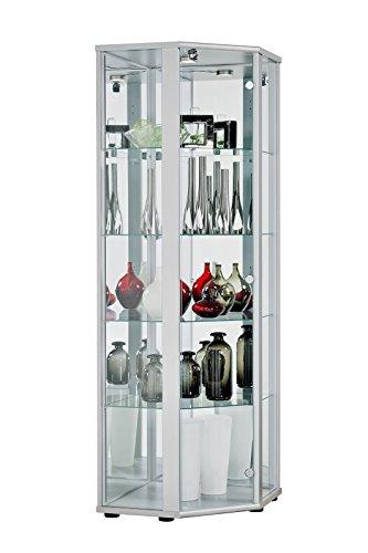 BR-Wohndesign Glasvitrine Sammlervitrine Eckvitrine Vitrine in Silber (Dekor) mit 4 Glaseinlegeböden Nicht höhenverstellbar Beleuchtung LED Schloß und Spiegel an der Rückwand