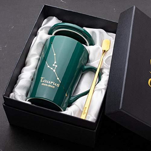 Tgbyhnujm Tasse à café en céramique 12 Constellation Couple Tasse avec cuillère Couvercle Home Office Eau Drinkware Cup, Taurus
