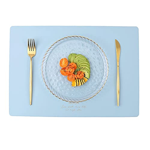 Martes de mesa impermeables de cuero de la PU Conjunto de 2 resistentes al calor fácil de limpiar lavable para la cocina Mats comedor moderno Mesa al aire libre Proteger esteras Decoración Regalo inte