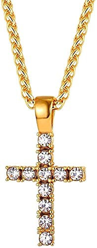huangxuanchen co.,ltd Necklace Necklace Cross Pendant Ice Out Chain Necklace Men/Women Gift Christian Jewelry Hiphop Cubic Stainless Steel Gold Color Pendant Necklace for Women Men