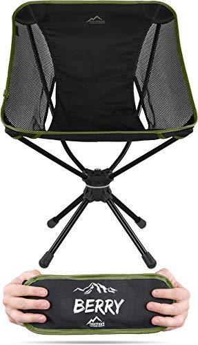 normani Campingstuhl Drehstuhl 360-Grad-Drehung Faltstuhl mit Drehgelenk und Netzfutter Anglerstuhl Belastbarkeit 120 Kg/Gewicht: 1116 g Farbe Olive
