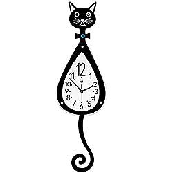 SHISEDECO Metal Black Drop Wall Clock,Pretty Cat Design,Non-Ticking Silent Quartz Pendulum Clocks with Arabic Numerals Home Decoration-Black and White Design (Cat)