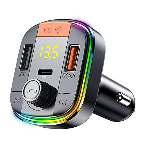 JZLPY Transmisor FM Bluetooth, Manos Libres para Coche Inalámbrico Reproductor Mp3 Mechero Coche Adaptador Receptor con Llamadas USB Dual Y Carga Rápida Qc3.0 Reproductor De Música