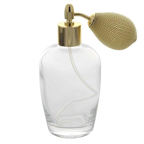 Bauchiger Parfümflakon mit Ballpumpe, Glas 100ml Kosmetex Flakon für Parfum Colognes, leer, Gold