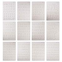 WANDIC 手紙のステンシル, 12個 プラスチック アルファベット文字番号ステンシル, 再利用可能な絵画テンプレート 印刷用ステンシル 絵画用 ボードウッド ポーチ サインウォール