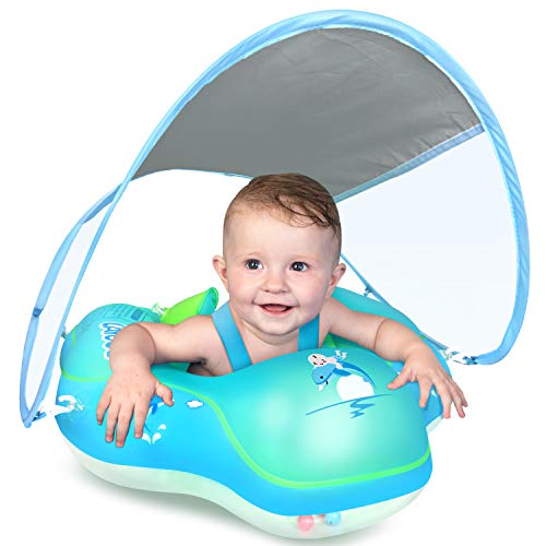 LAYCOL Baby Swimming Float Inflatable Baby Pool Float Ring Newest with Sun Protection Canopyadd Tail no flip Over for Age of 336 Months …