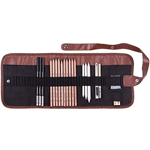 Elonglin 28pcs Professionnel Crayons de Dessin Art Set Crayons Croquis Kit de Croquis Dessin avec Sac Inclus Gomme Crayon de Charbon Graphite Outils pour Dessiner Artiste Adulte Enfant