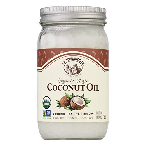 La Tourangelle Organic Virgin Oil, Great for Cooking Baking and Hair and Skin Care, Clear, Coconut, 14 Fl Oz