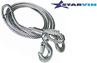 STARVIN 4M Long    Super Strong Emergency Heavy Duty    Car Tow Cable    3 Ton Towing Strap Rope    with Dual Forged Hooks    B-01