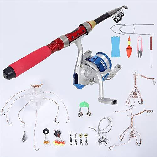 CYCA Caña de pescar Bait, combinación con bobina, caña y carrete pesca, juego combinación, mini camping pesca campo, telescópica, ultraligera, ultracorta, kit en agua dulce (47.24)