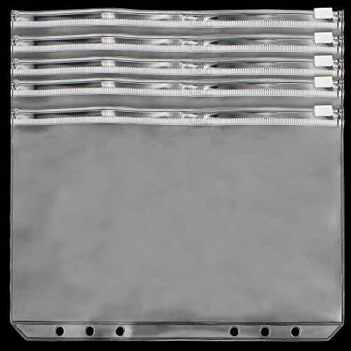 JaneYi 12 piezas Carpeta Bolsillos con Cremallera A5 Bolsas de Hojas Sueltas Impermeables 6 Agujeros Sobres Personales Translúcido Bolsillos Perforados de PVC para Recarga Cuenta Efectivo Tarjeta ⭐