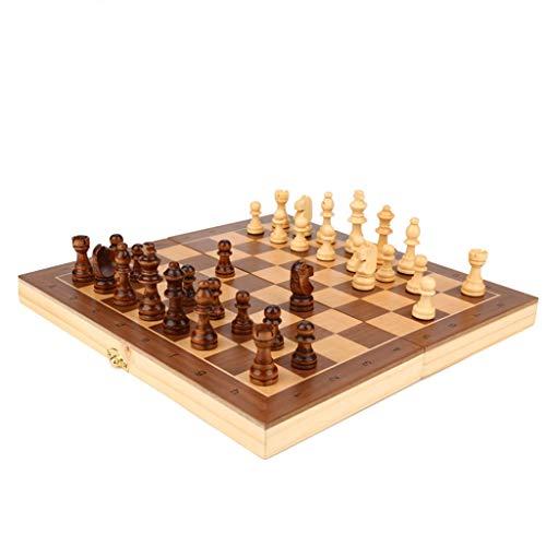 LMG Ajedrez Conjuntos de ajedrez de Madera magnética, Juego de ajedrez estándar Plegable, ajedrez magnético de Madera Artesanal, niños 29 * 29 cm