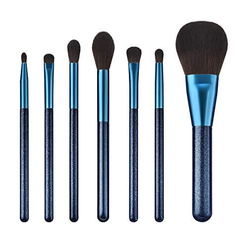 7 PièCes Maquillage Bleu Mode Professionnel Ombre à PaupièRes Kabuki Pinceau De Maquillage Set Base Liquide MéLange Poudre Blush Maquillage Facial Brosse Kit
