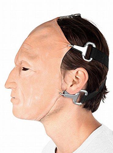 Saw Jigsaw Maske John Kramer - Tobin Bell Horrormaske reales Gesicht - One Size - hautfarben