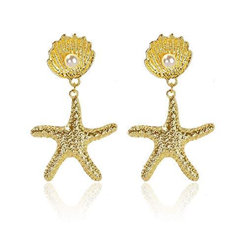 Un-brand - Orecchini a forma di stella marina in metallo con conchiglia, confortevoli ed ecologici.