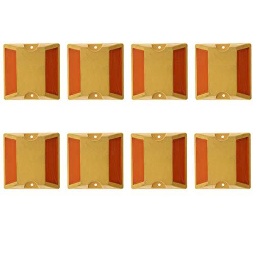 kesoto 8 tlg. Straße Markierungsnagel aus Hochwertigem Kunststoff, Reflektierende Fahrbahnmarkierung, Gelb