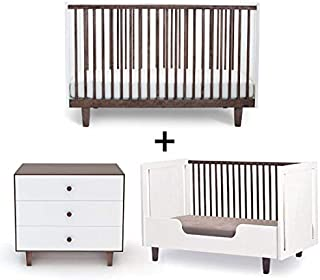 Oeuf Rhea Collection Complete Nursery in Walnut with 3 Drawer Dresser