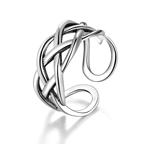 Candyfancy Celtic Knot Ring 925 Sterling Silver Open Middle Finger Knuckle Thumb Rings for Women Adjustable Size(Four line Twist)