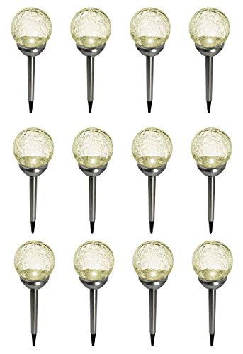 Fachhandel Plus LED Solarleuchten 12 Stück im Bruchglas-Design Edelstahl-Stab mit Erdspieß Solarlampen Gartenkugeln mit Kristallglas und On- und Offschalter