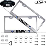 2 Pack Silver Car License Plate Frame for BMW, Auto Plate Frames Frames to Protect Plates,with Screw Caps Cover Set Suit,Applicable to US Standard BMW License Frame