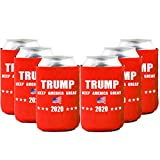 Neoprene Beer Can Coozies- Trump 2020 Can cooler,Trump American Flag Coozies - Set of 6