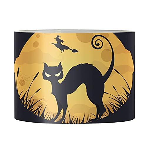 HUGS IDEA Pantalla de lámpara con impresión de gato negro, lámpara de Halloween, color naranja, suave y acogedora luz difusa para habitación de estudio, habitación de huéspedes – M