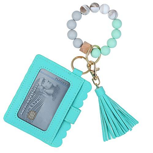 Wristlet Keychain Bracelet Holder, Key Ring Silicone Car Wallet Beaded Bangle With Card Tassel Holder for Women and Girls (green)