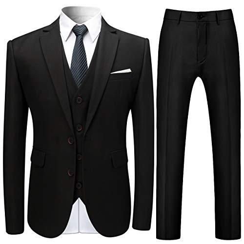 Costume Trois-pièces Homme Veste+Gilet+Pantalon de Couleur Unie Business Mode Slim Fit Formel avec Deux Boutons - NOIR - TAILLE S